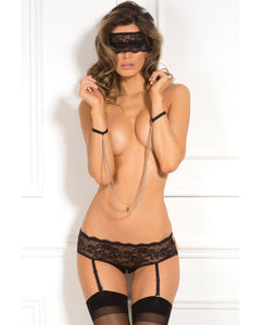 Rene Rofe Crotchless Panty, Mask & Chain Cuffs - Black