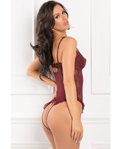 Rene Rofe Grand Finale 2pc Ruffle Teddy - Burgundy | Lavish Sex Toys