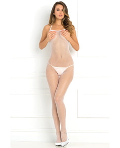 Rene Rofe Halter Fishnet Bodystocking White O/S | Lavish Sex Toys
