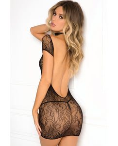 Rene Rofe Cold Shoulder Lace Body Bodystocking - Black | description