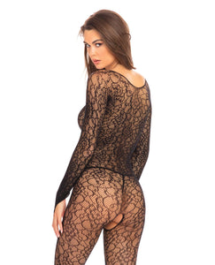 Rene Rofe Crotchless Lace Bodystocking - Black