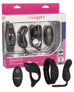 Silicone Remote Foreplay Set - Black