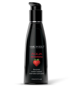 Wicked Sensual Care Aqua Waterbased Lubricant - 4 oz Strawberry | Lavish Sex Toys