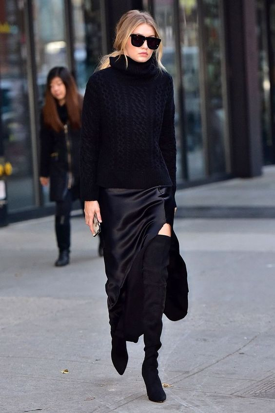 all black outfit with over the knee boots