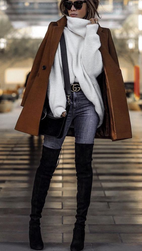 brown coat with jeans and over the knee boots