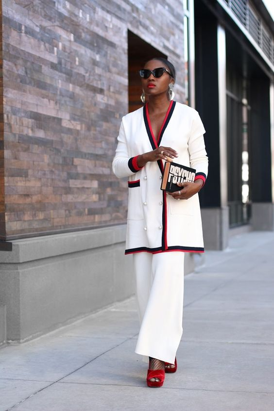 white red black pantsuit office lady stylish