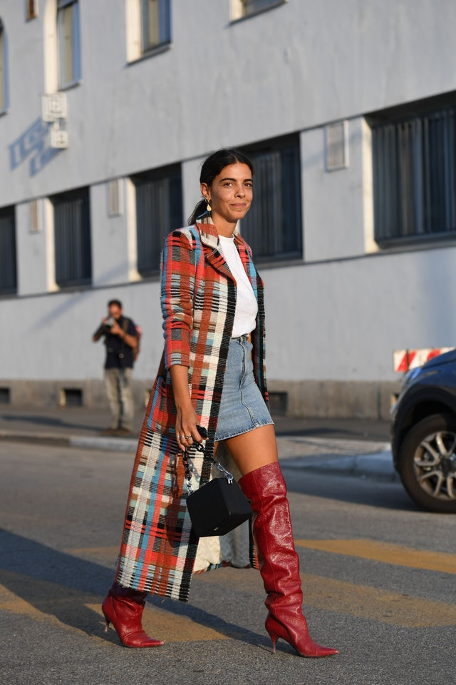 statement coat long boots check
