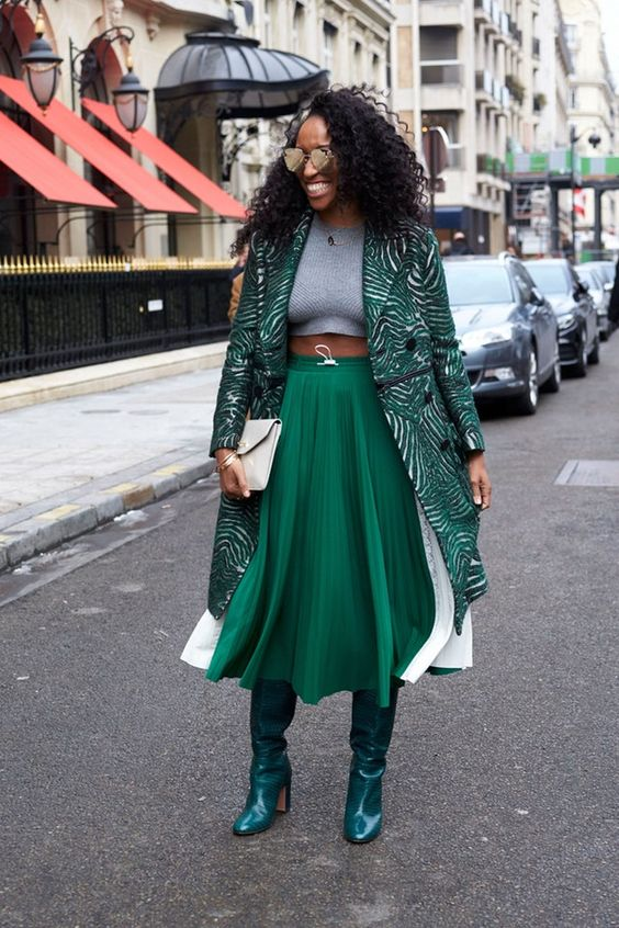 midi skirt green over the knee boots