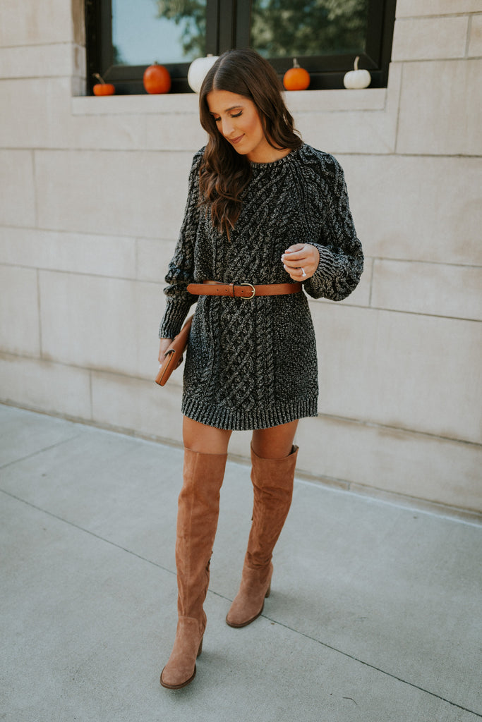 mad jade a southern drawl winter dress with over-the-knee camel boots