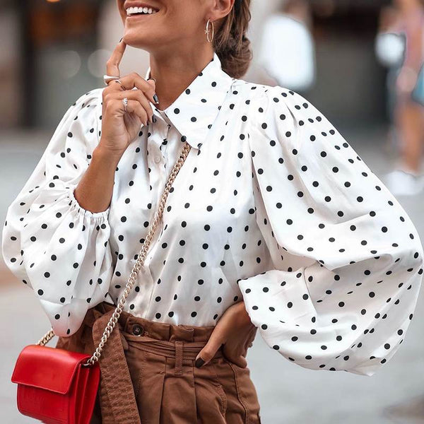 Amanda Polka Dot Puff Sleeve Blouse in Multiple Colors