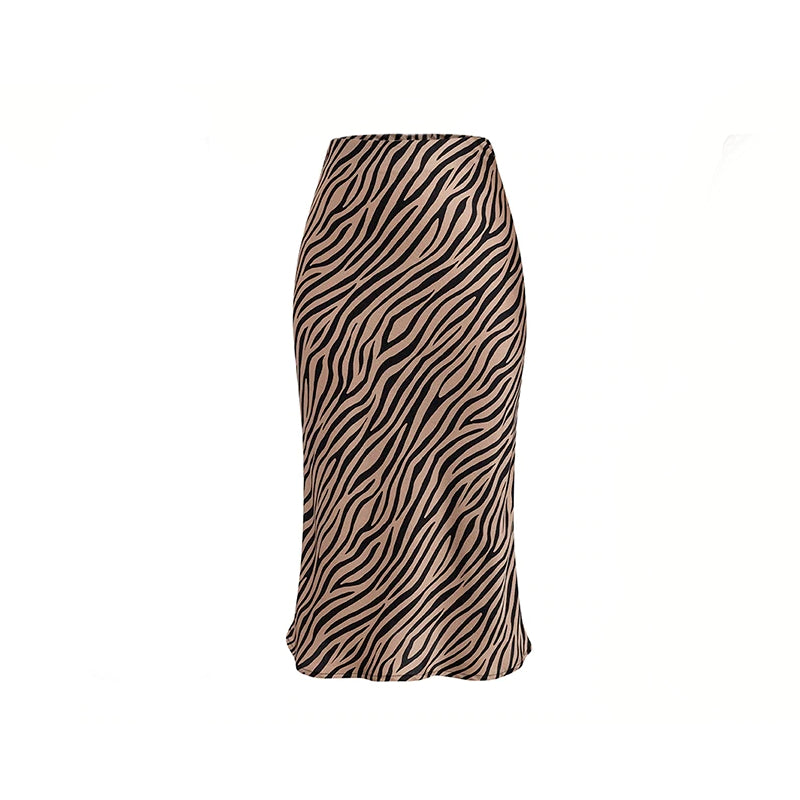 Donna Midi Skirt in Zebra Abstract Print