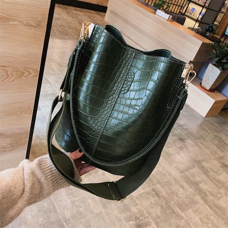 Kendra Vintage Style Croc Print Shoulder Bag - Mad Jade