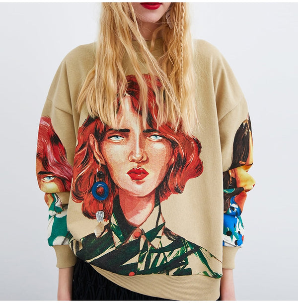 Serena Art Print Jumper - Mad Jade