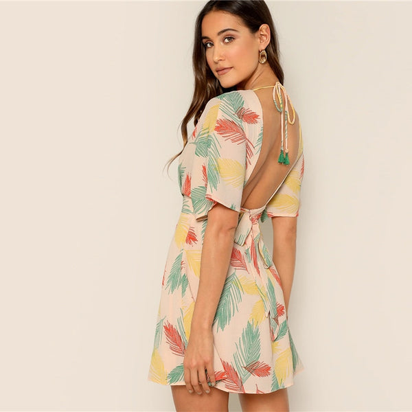 Kay V-Neck Tropical Print Dress