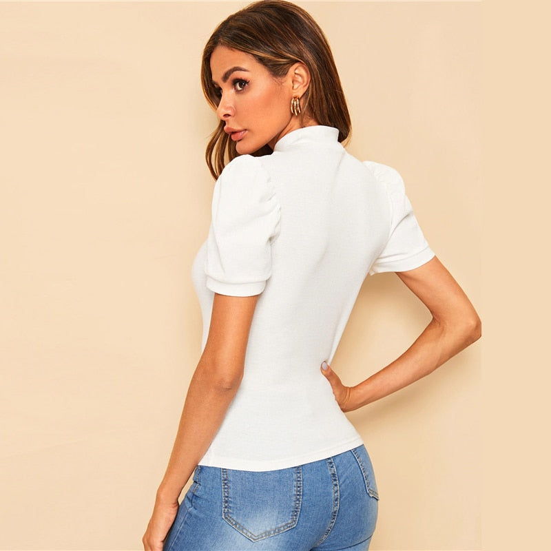 Isabella White Top with Puff Sleeves