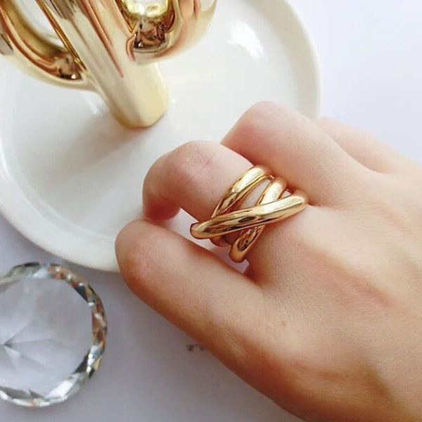 Lori Adjustable Size Chunky Ring in Gold
