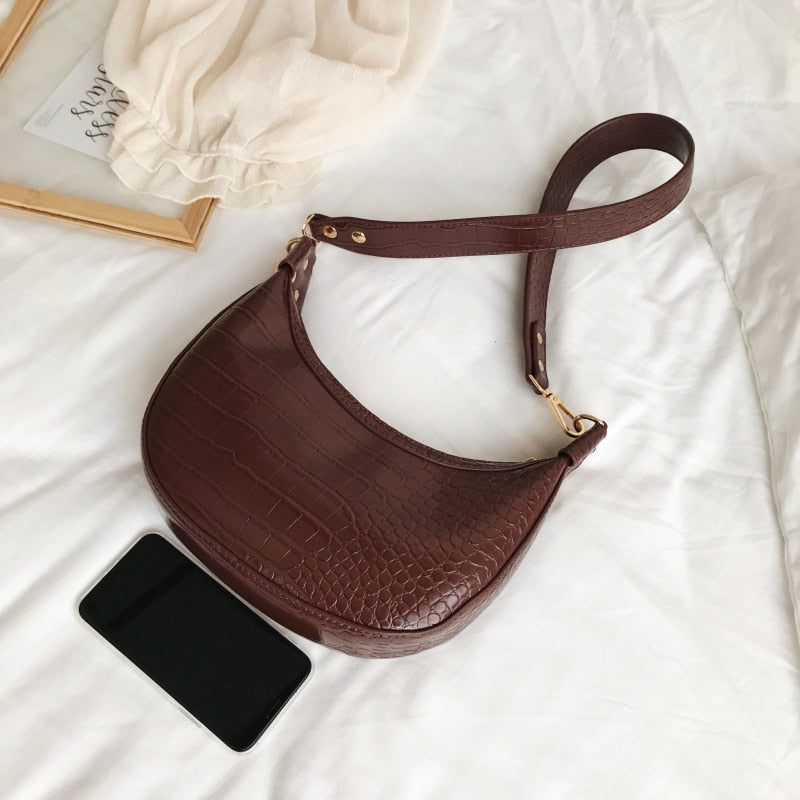 Alice Croc Effect Shoulder Bag