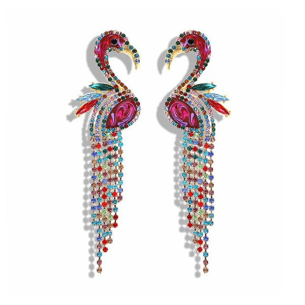 Alessandra Funky Multicolor Bird Earrings