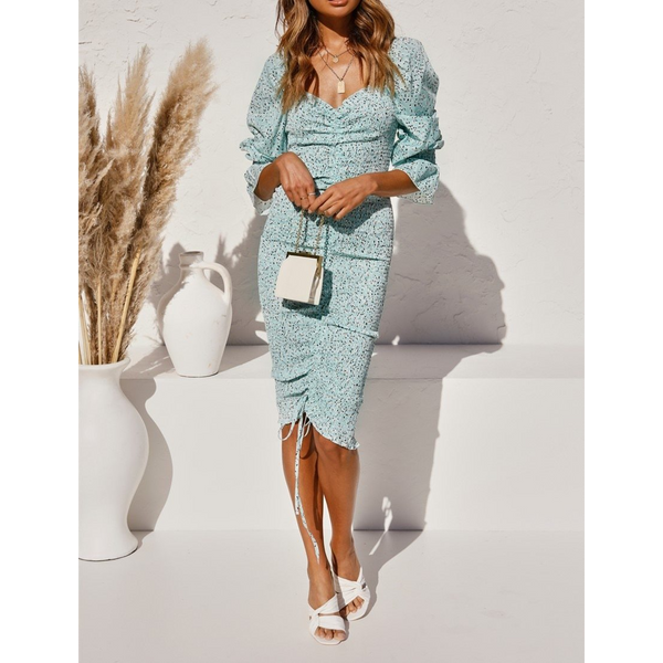 Sarah Long Sleeve Midi Dress with Ruching Detail in Mint