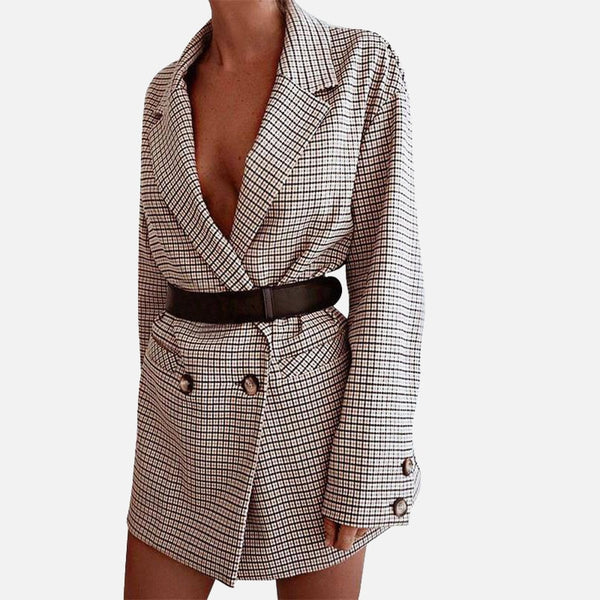 Barbara Blazer Mini Dress in Check
