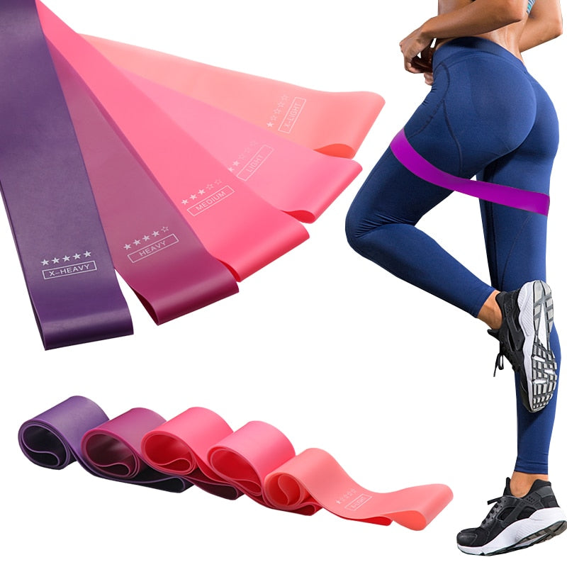 Resistance bands in various pink colours