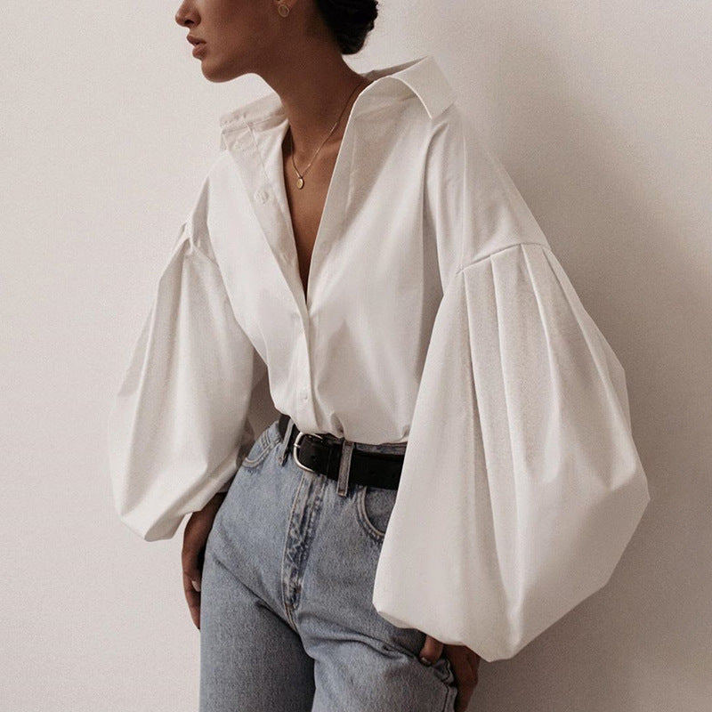 Laurel Oversized Shirt With Puff Sleeves