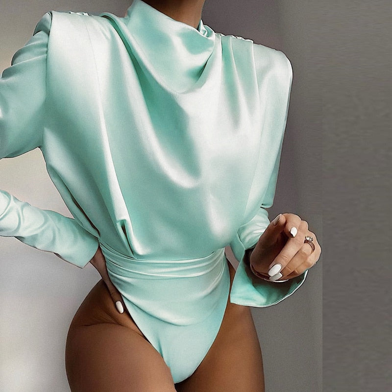 Erica Turtleneck Open Back Bodysuit in Multiple Colors