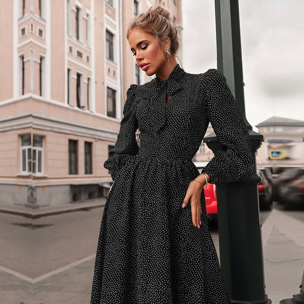 Melinda Long Sleeved Polka Dot Dress