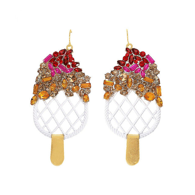 Ruby Funky Ice-Cream Drop Earrings