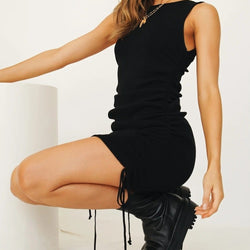 Carmen Mini Dress with Drawstring Details in Black