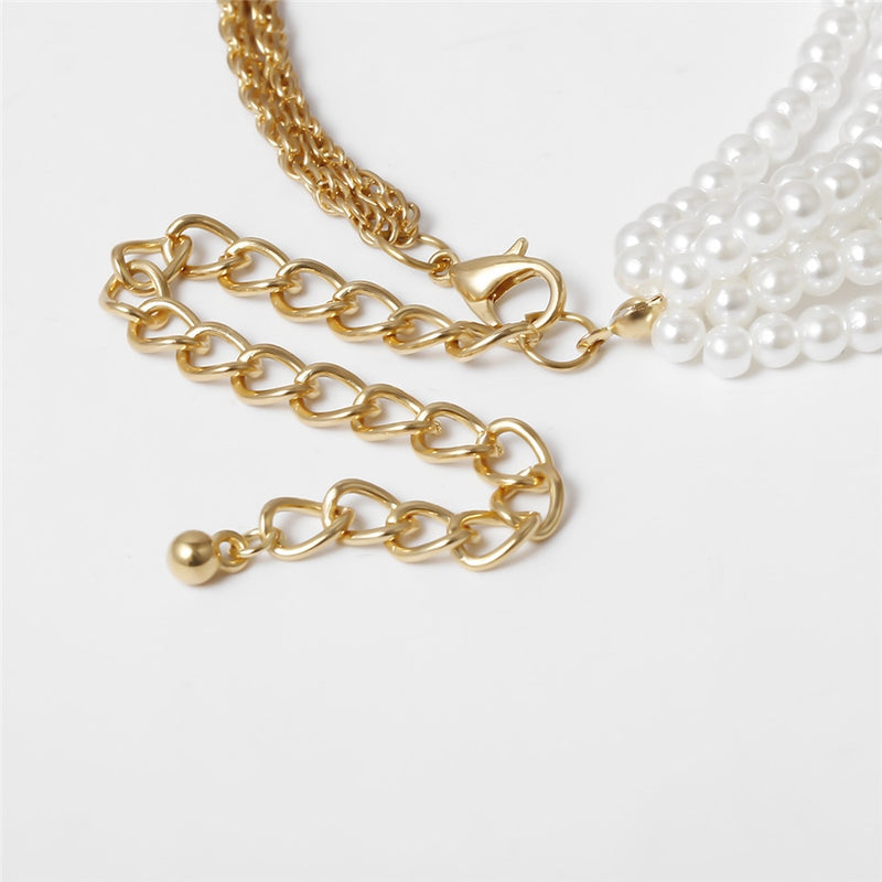 Helen Multirow Necklace with Faux Pearls and Clasp in Gold Tone