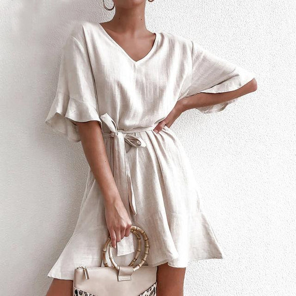 Karen Mini Belted Dress in Light Beige