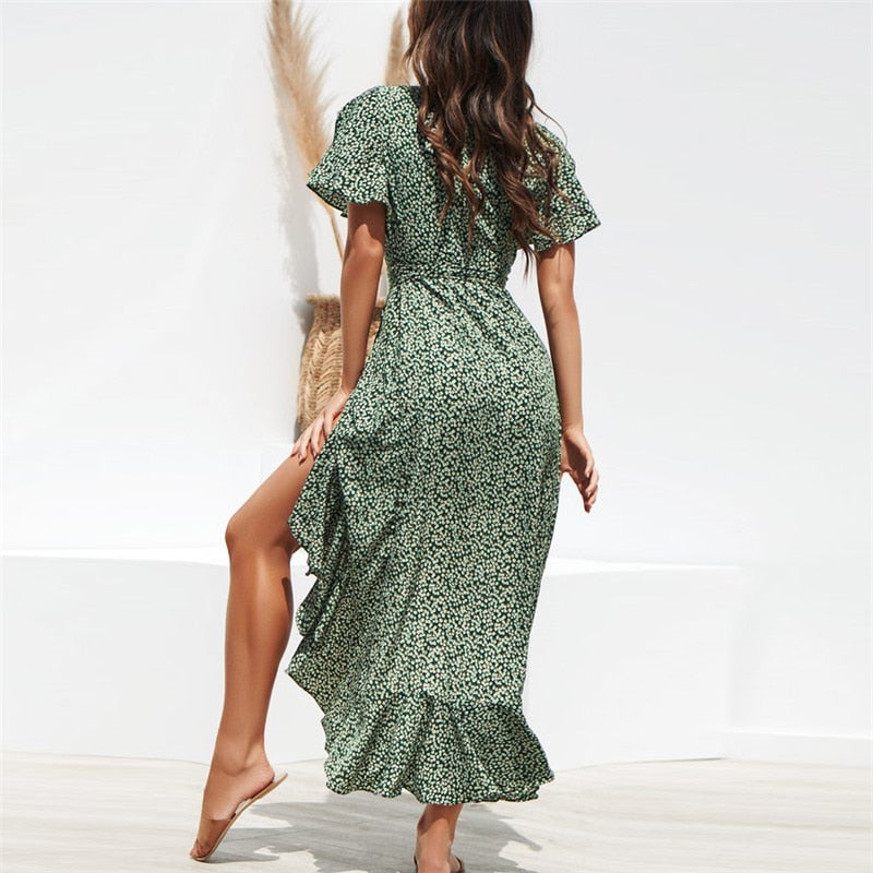 Brenda Tiered Maxi Beach Dress in Ditsy Floral Print