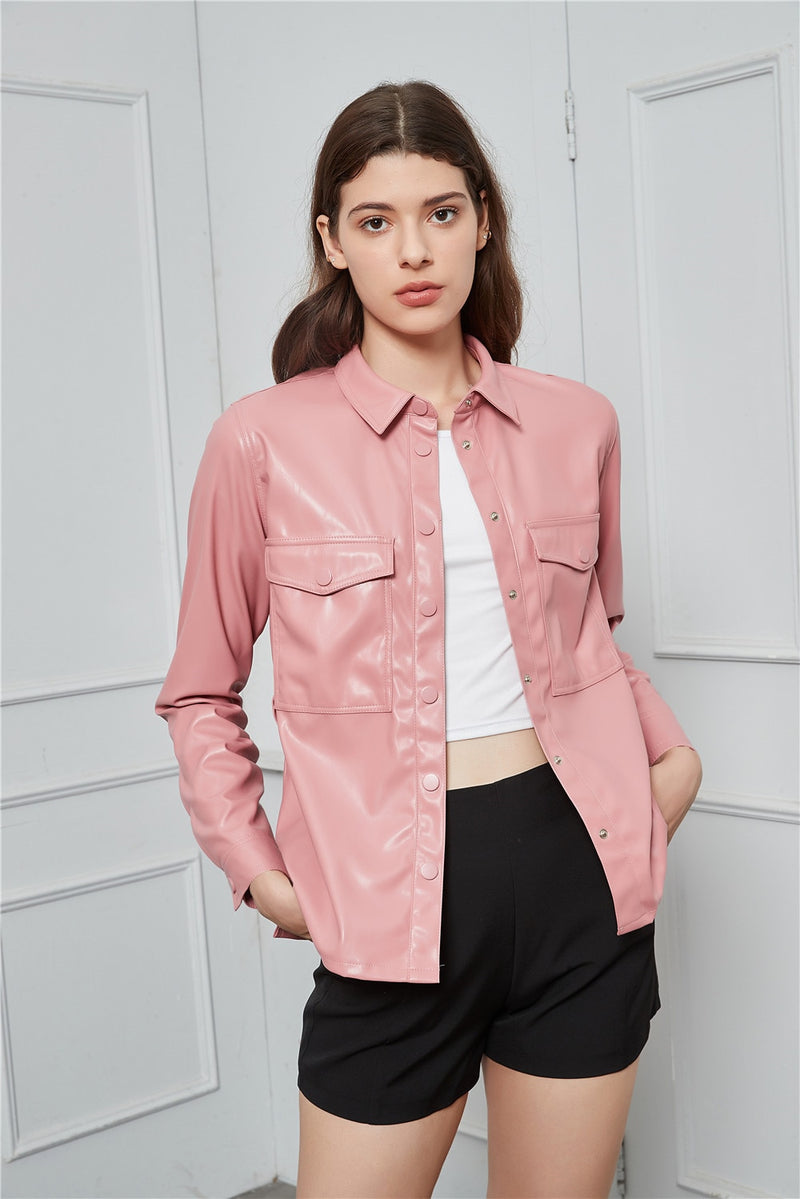 Sophia Belted Faux Leather Jacket in Multiple Colors