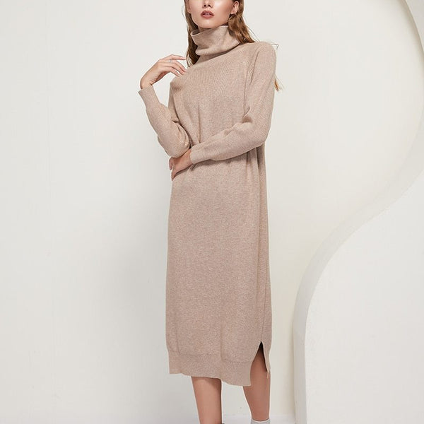 Anita Knitted Dress with High Neck in Light Brown