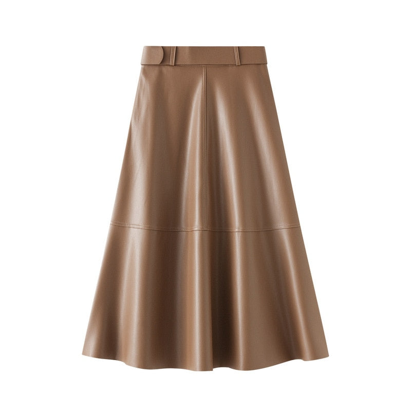 Faux Leather Midi Skirt in Multiple Colors