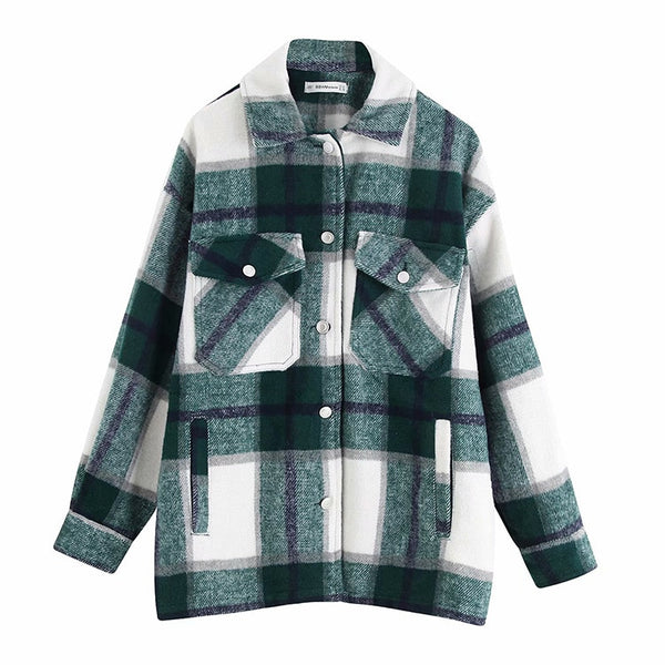 Esther Oversize Shacket in Green Check