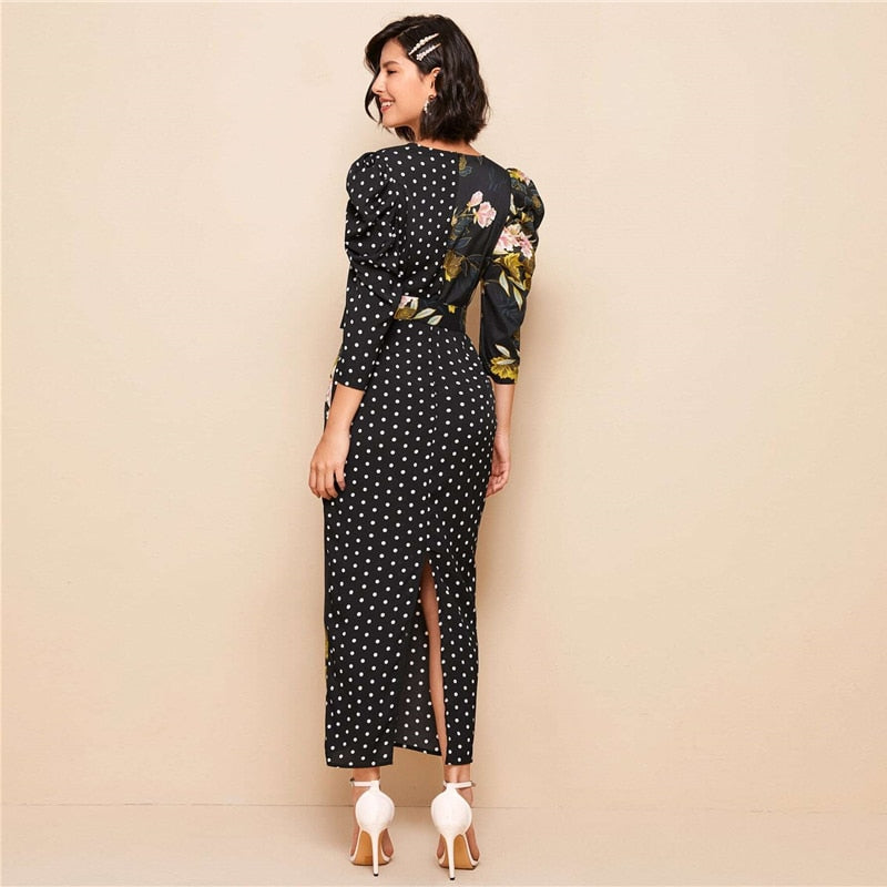 Gloria Maxi Dress with Puff Sleeves in Polka Dot and Floral Print