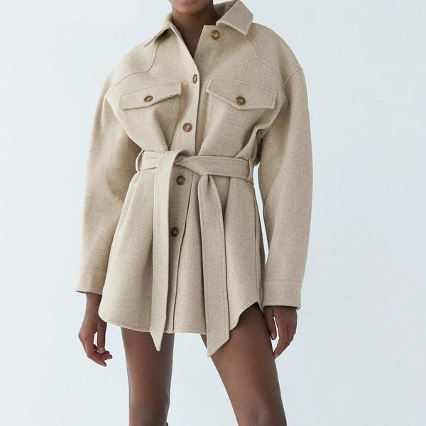 Monica Belted Shacket in Beige