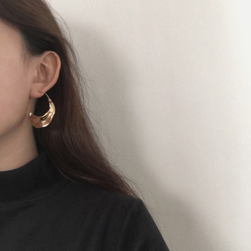 Sigourney Irregular Oversized Hoop Earrings Gold Colored - Mad Jade