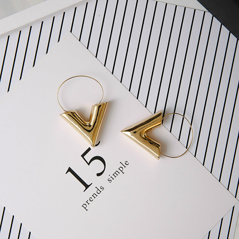 Lia Small Gold Hoop Earrings In Triangle Shape - Mad Jade