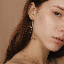 Camille Gold Face Shape Earrings - Mad Jade