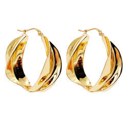 Nora Twisted Big Hoop Earrings Gold Color - Mad Jade