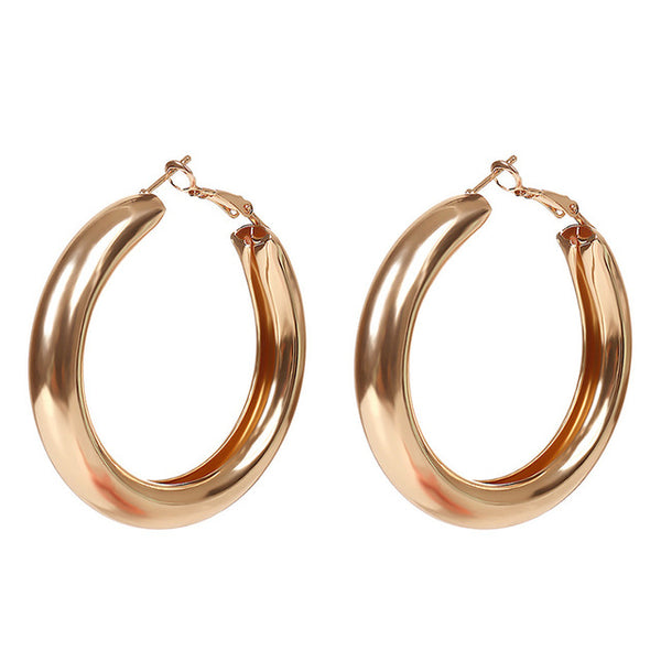Eve Stylish Big Gold Hoop Earrings - Mad Jade