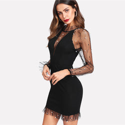 Patricia Mesh Long Sleeve Bodycon Dress Black - Mad Jade