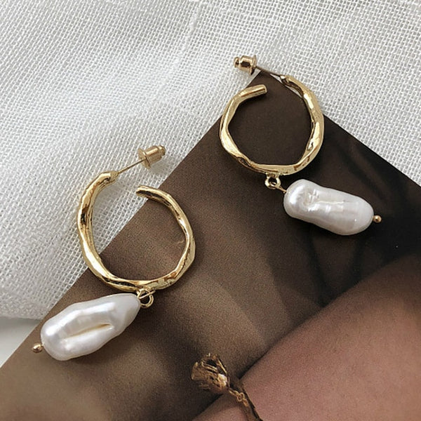 Talissa Faux Pearls Drop Hoop Earrings - Mad Jade