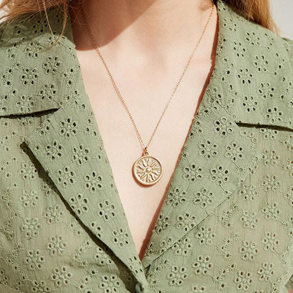 Erica Gold Coin Necklace With A Sun - Mad Jade