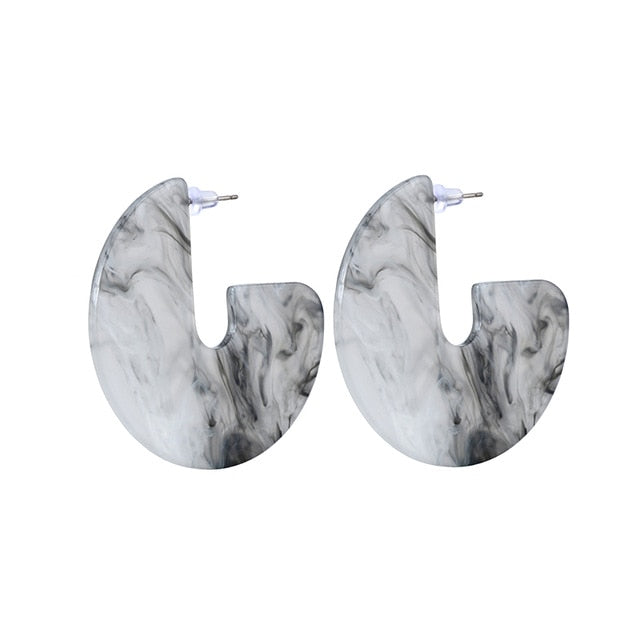Nina Resin Semicircle Hoop Earrings - Mad Jade
