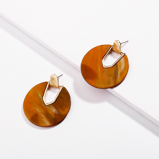 Arlene Colorful Round Resin Earrings - Mad Jade
