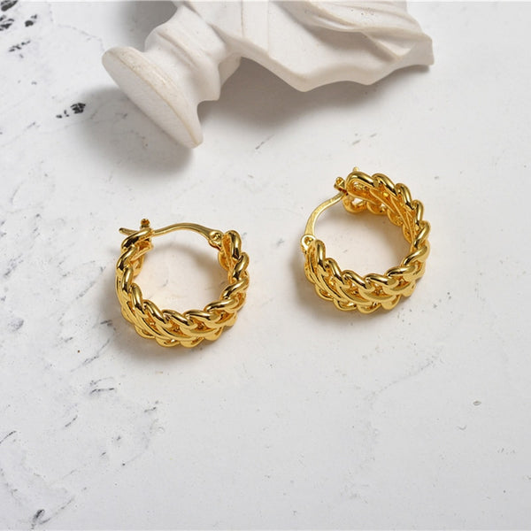 Perry Small Twisted Hoop Earrings In Gold